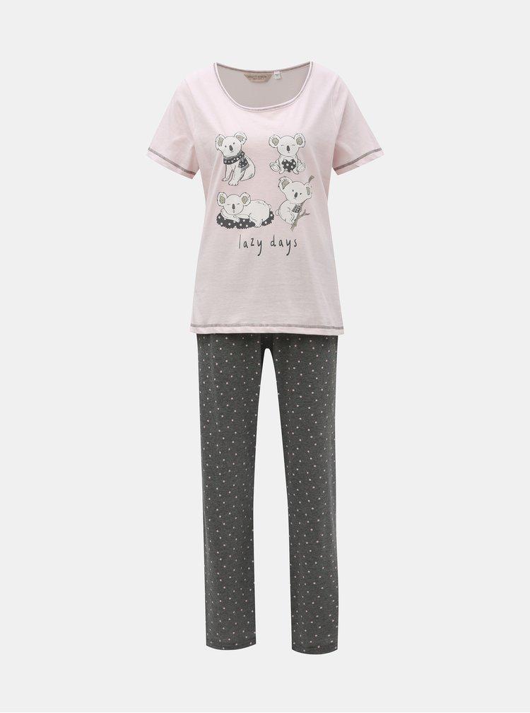 Pijama din 2 piese gri-roz cu motiv koala Dorothy Perkins