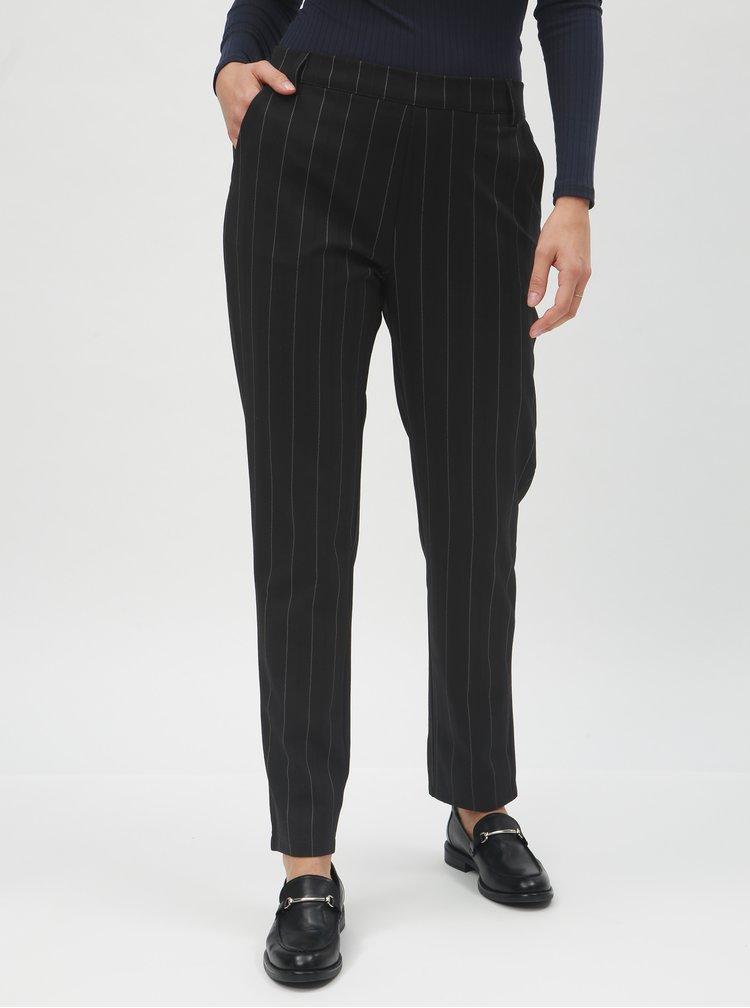 Černé pruhované kalhoty s gumou v pase Jacqueline de Yong Lilo