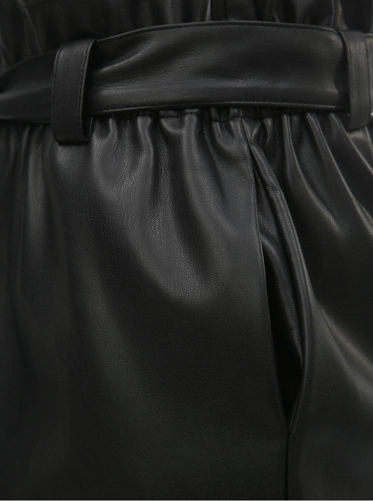 Fusta neagra din piele sintetica cu banda elastica in talie ONLY Coc