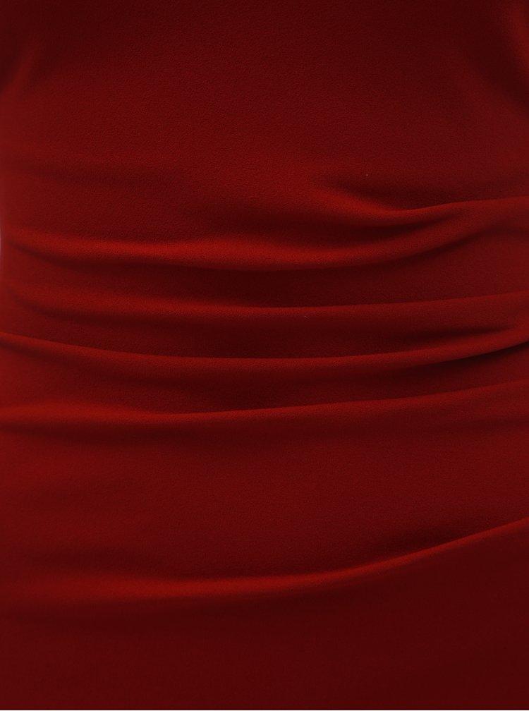 Rochie maxi bordo mulata cu decolteu in V si pliuri laterale ZOOT