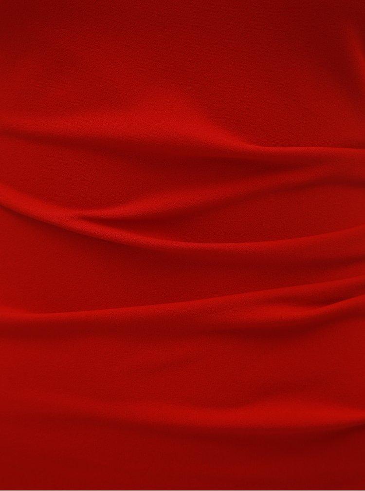 Rochie maxi rosie mulata cu decolteu in V si pliuri laterale ZOOT