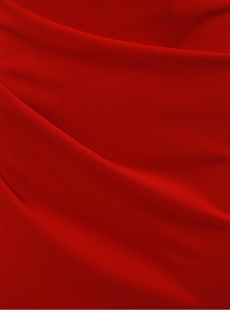 Rochie maxi rosie mulata cu decolteu barcuta si pliuri laterale ZOOT