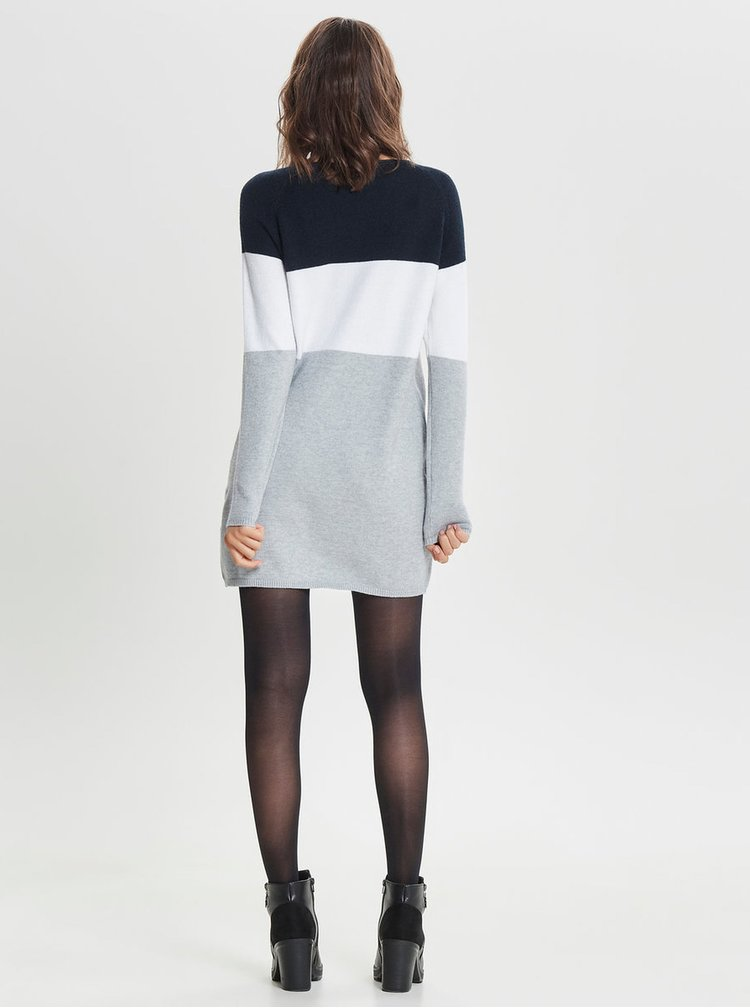 Rochie albastru-gri tricotata cu maneci lungi ONLY Lily