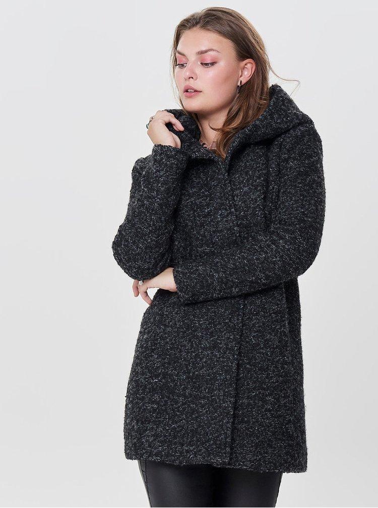 Pardesiu negru melanj cu amestec de lana ONLY