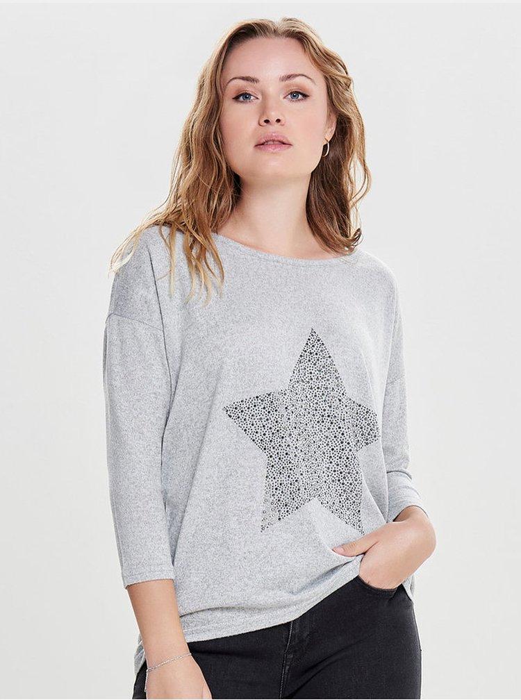 Světle šedý žíhaný svetr s aplikací ONLY