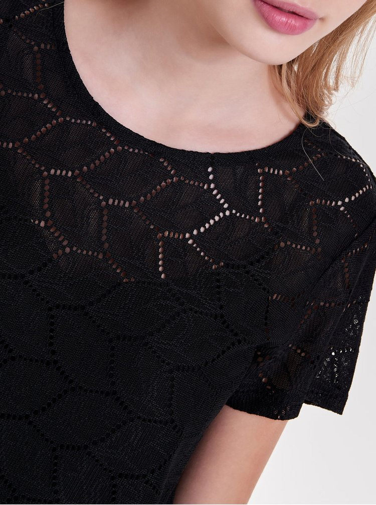 Bluza neagra din plasa cu perforatii Jacqueline de Yong Tag