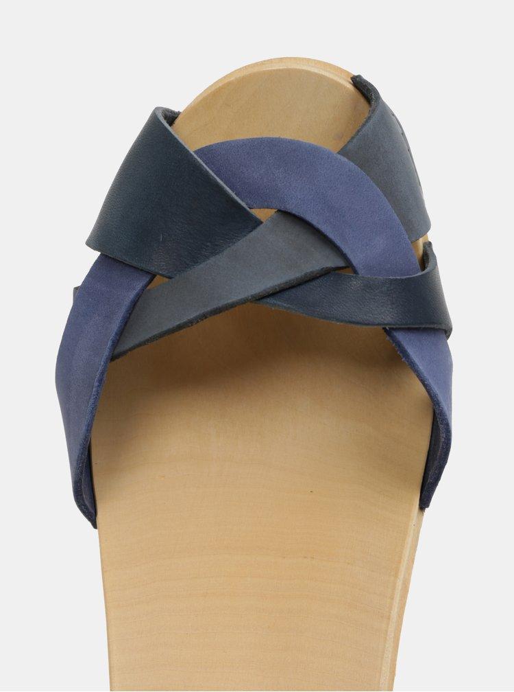 Dřeváky na podpatku s tmavě modrými koženými pásky Swedish Hasbeens Kringlan