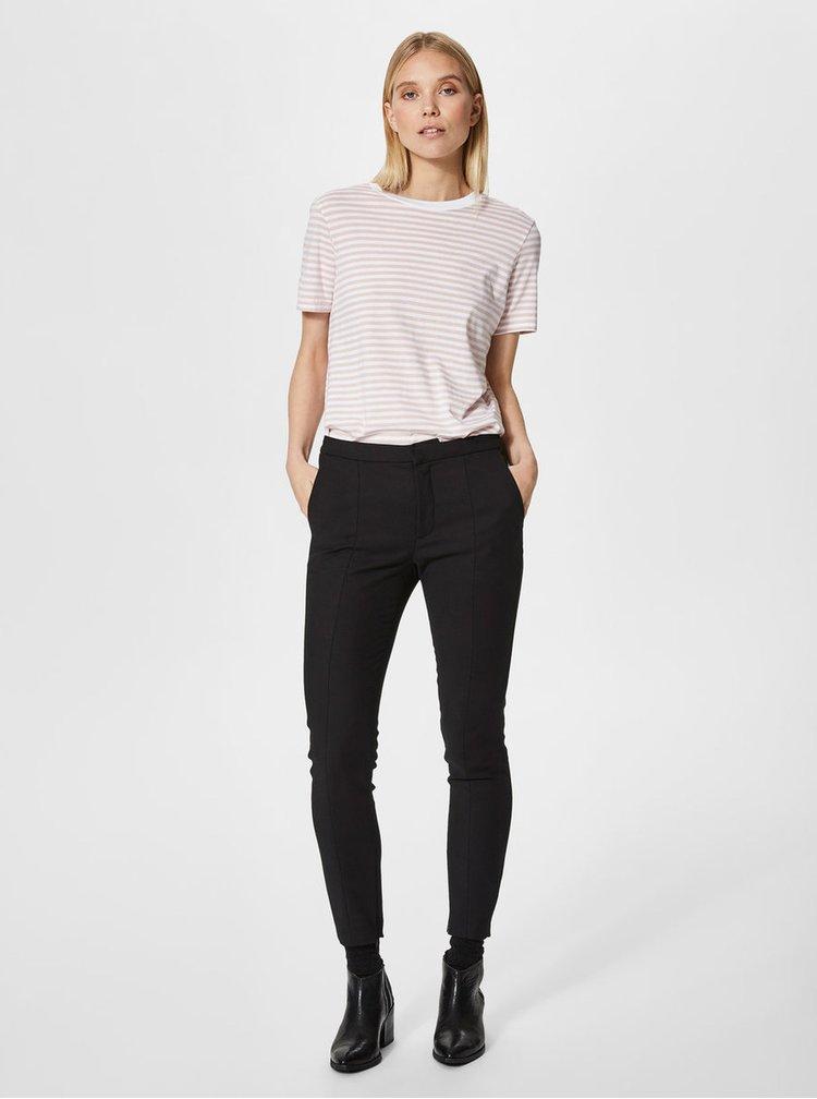 Bielo-ružové pruhované basic tričko Selected Femme MyPerfect