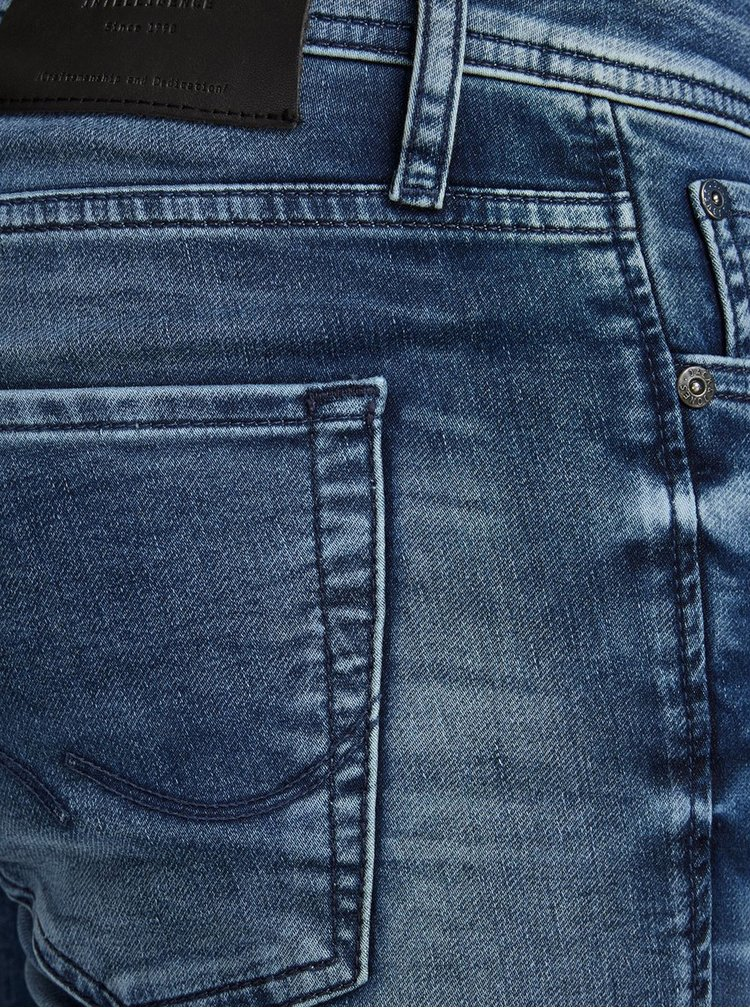 Modré slim fit džíny s vyšisovaným efektem Jack & Jones Glenn