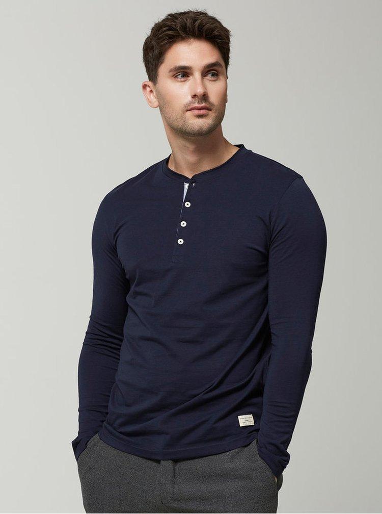 Bluza bleumarin din bumbac cu nasturi - Selected Homme Niklas
