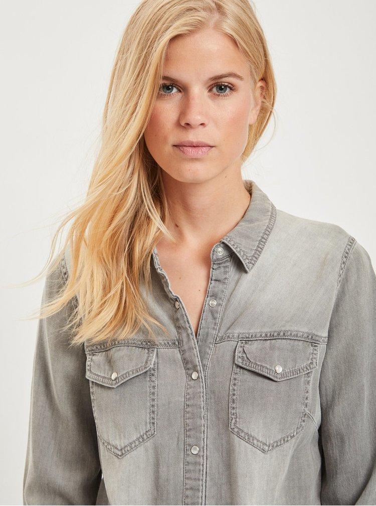 Světle šedá džínová košile s dlouhým rukávem VILA Bista