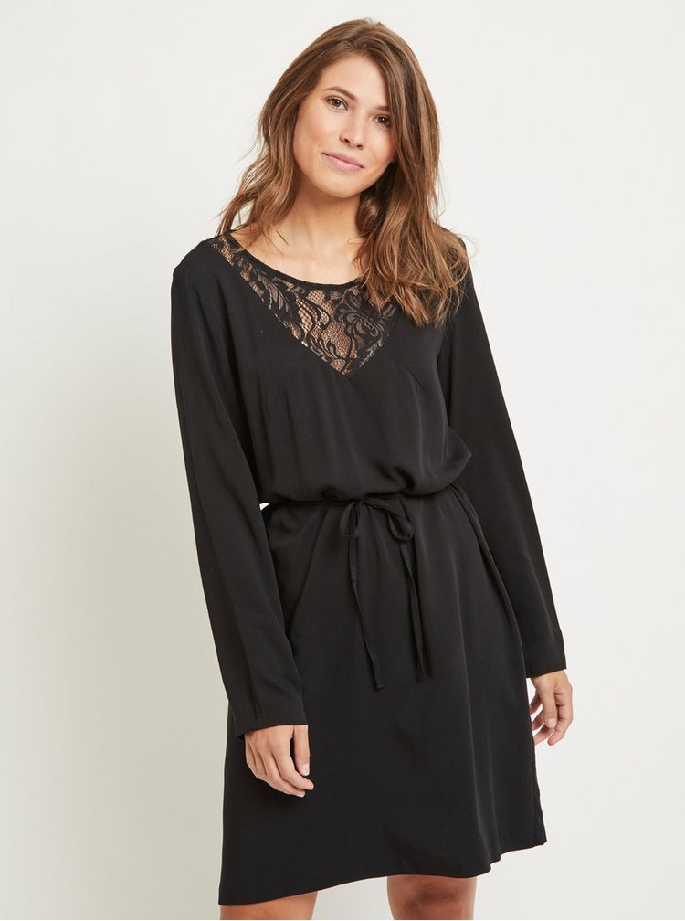 Černé šaty s krajkou a páskem VILA Verly