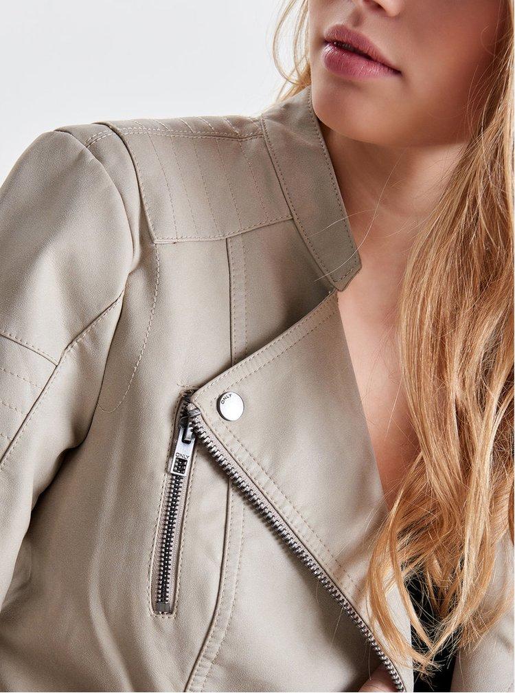 Béžový koženkový křivák s kapsami ONLY Biker
