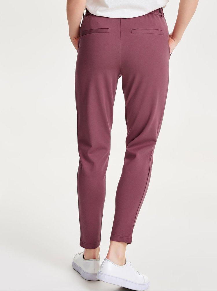 Pantaloni roz inchis cu talie elastica - ONLY Poptrash