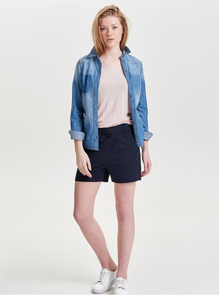 Pantaloni scurti bleumarin cu talie clasica cu snur-  ONLY Poptrash