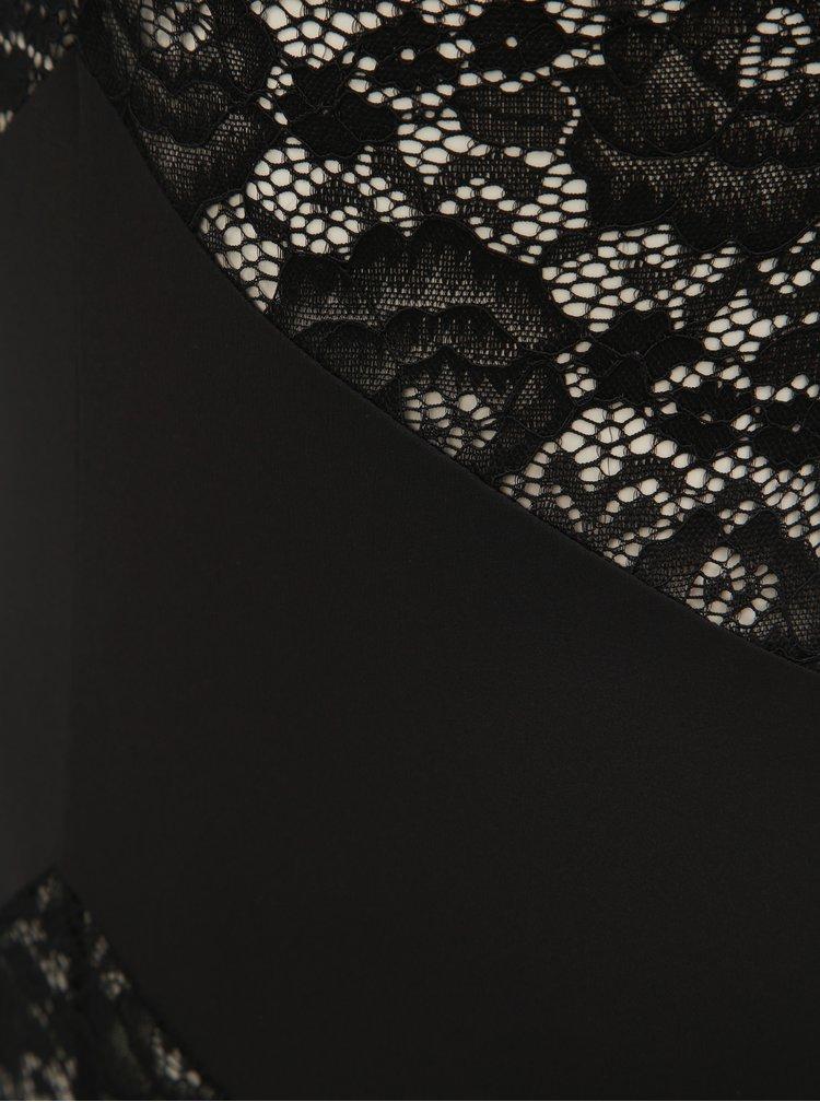 Body negru din dantela cu bretele ICÔNE