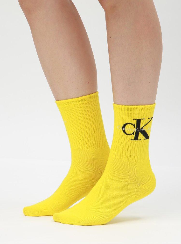 Žlté dámske ponožky Calvin Klein Jeans