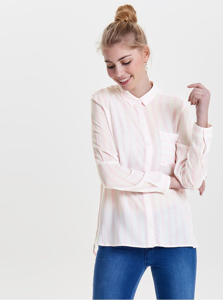 Růžovo-krémová pruhovaná košile ONLY Candy