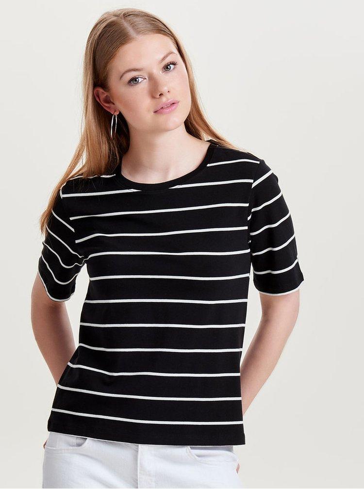 Černé pruhované basic tričko s krátkým rukávem ONLY Live Love