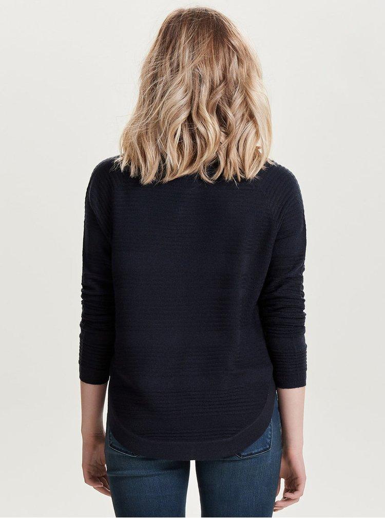 Tmavomodrý tenký sveter s rozparkom na boku ONLY Caviar