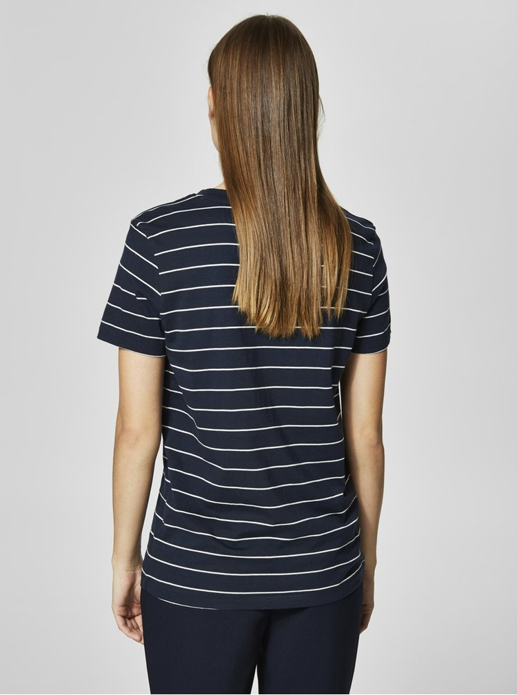 Tricou bleumarin in dungi Selected Femme MyPerfect