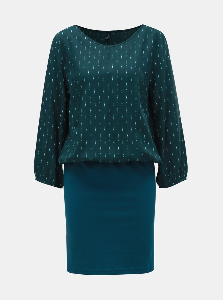 Petrolejovo-zelené vzorované šaty s 3/4 rukávem Tranquillo Macha