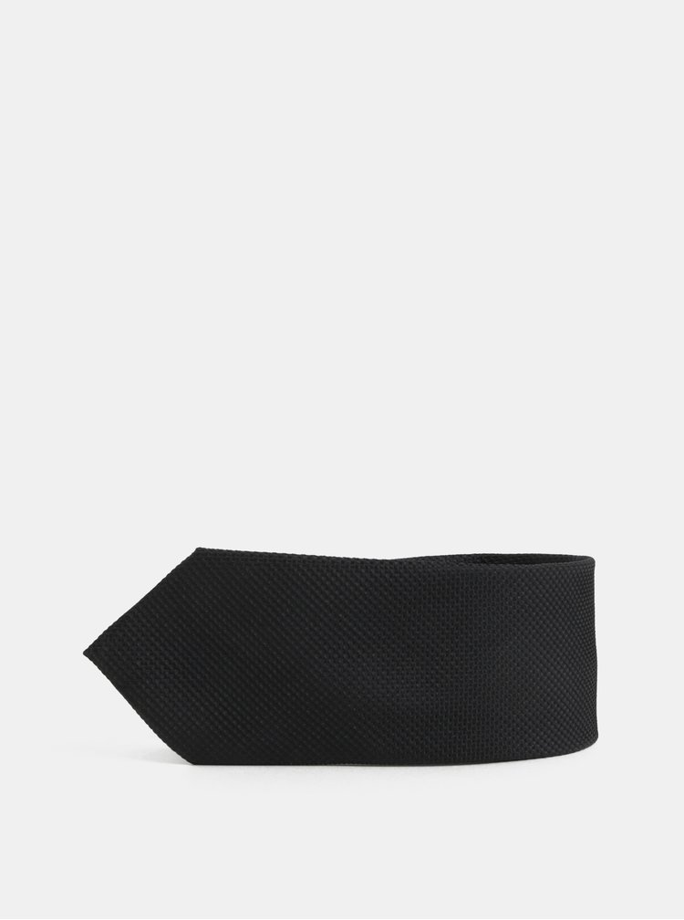 Cravata neagra din matase cu model discret Jack & Jones Premium Colombia