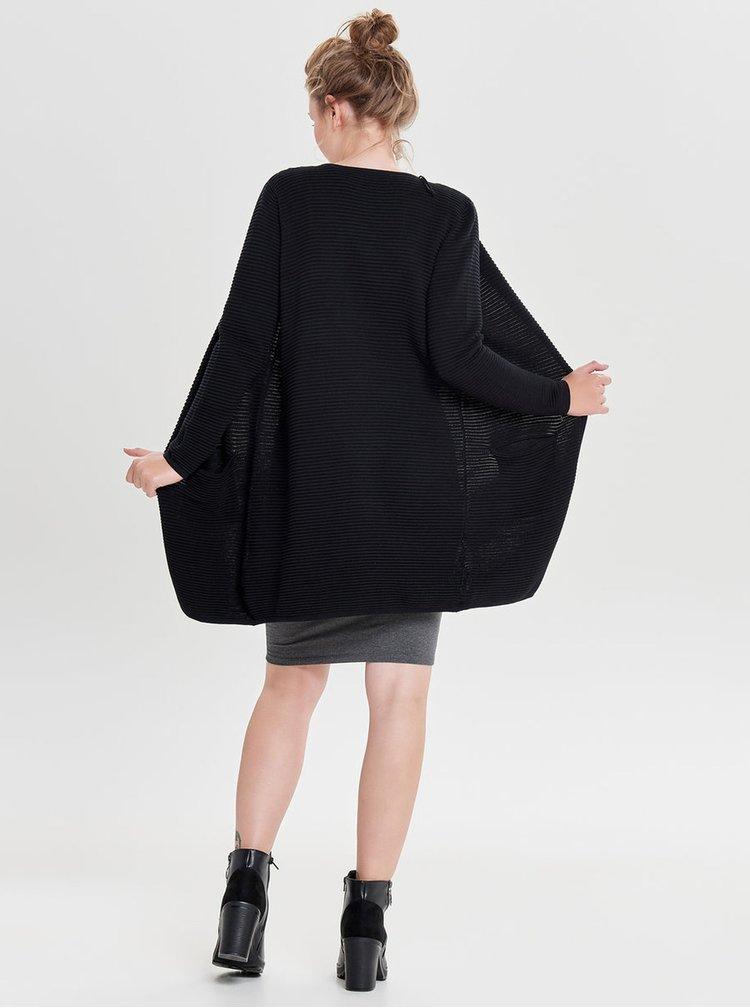 Černý žebrovaný kardigan s kapsami ONLY