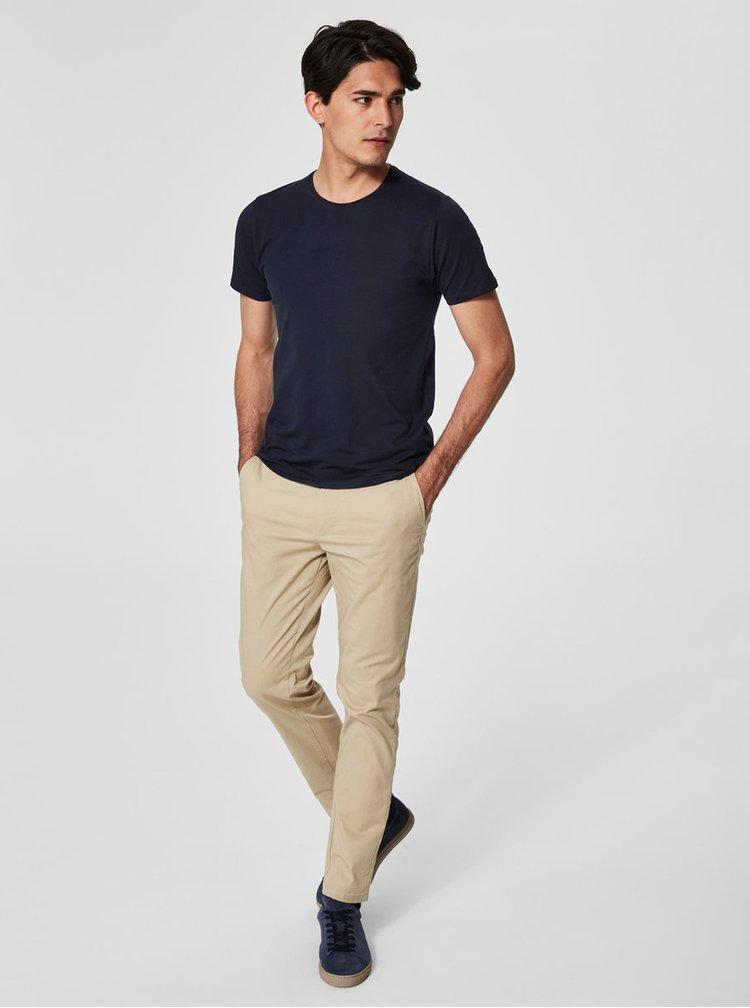 Tmavomodré basic tričko Selected Homme Pima