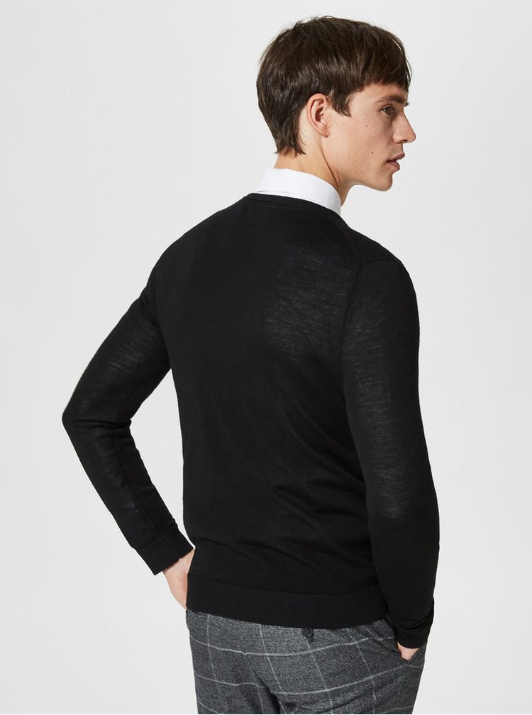 Pulover negru din lana merino - Selected Homme Tower
