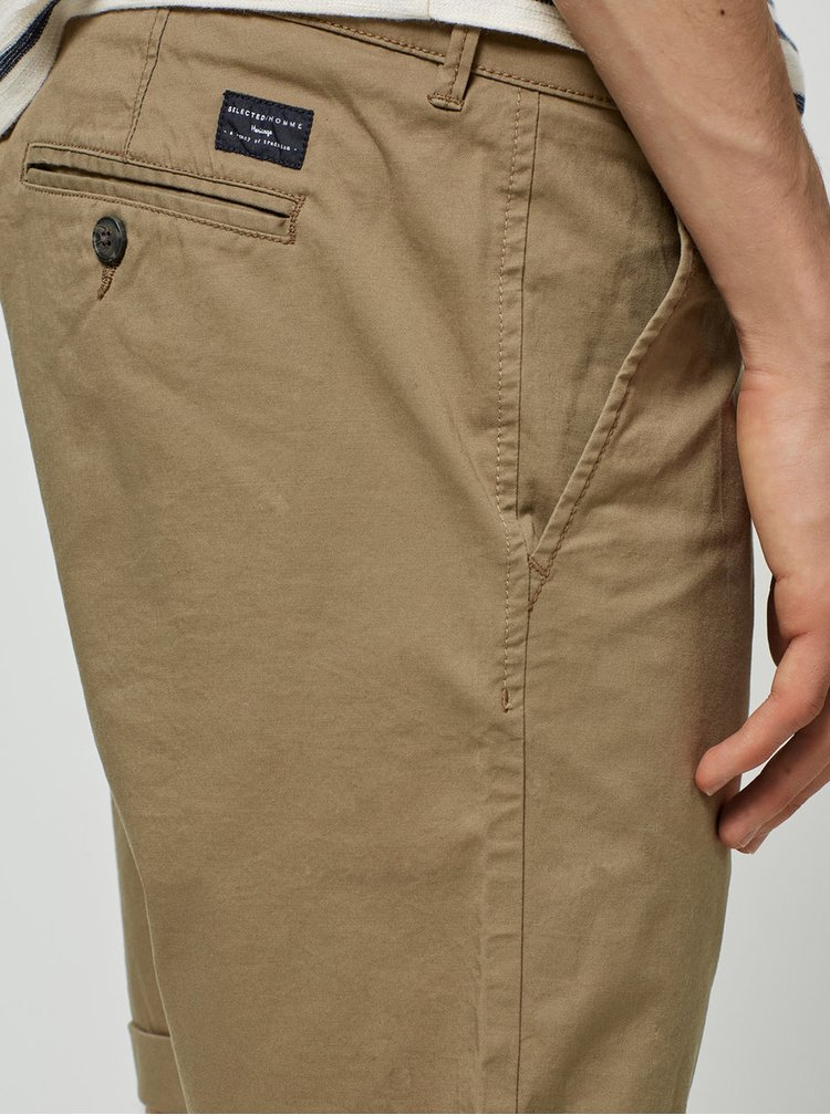 Béžové chino kraťasy Selected Homme Paris