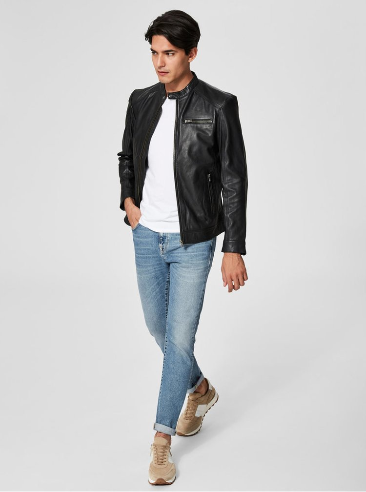 Černá kožená bunda Selected Homme New Tylor