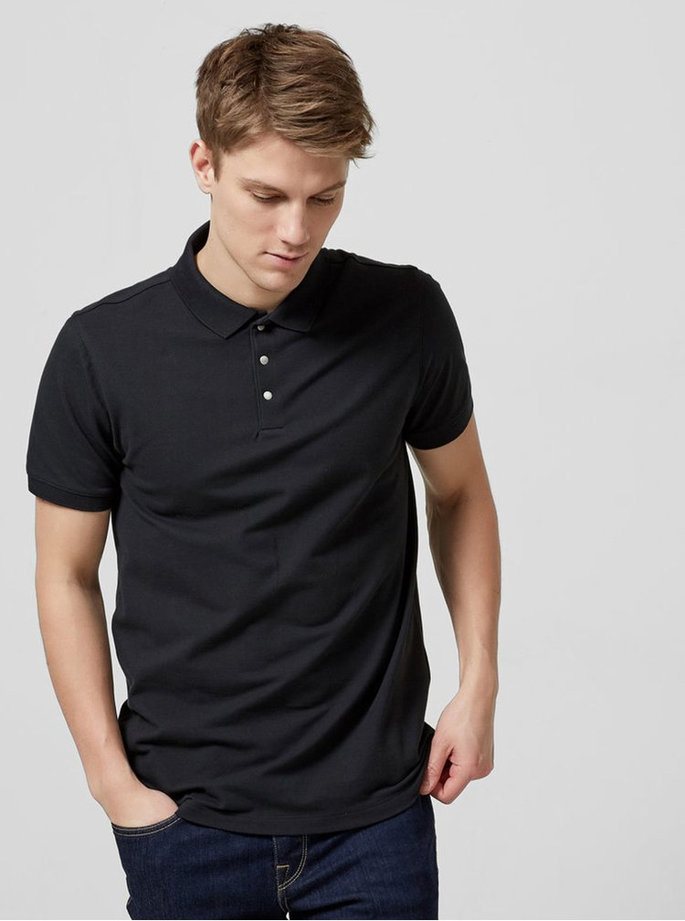 Tricou polo negru Selected Homme Damon