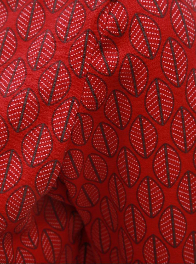 Červené vzorované tričko s lodičkovým výstrihom Tranquillo Leila
