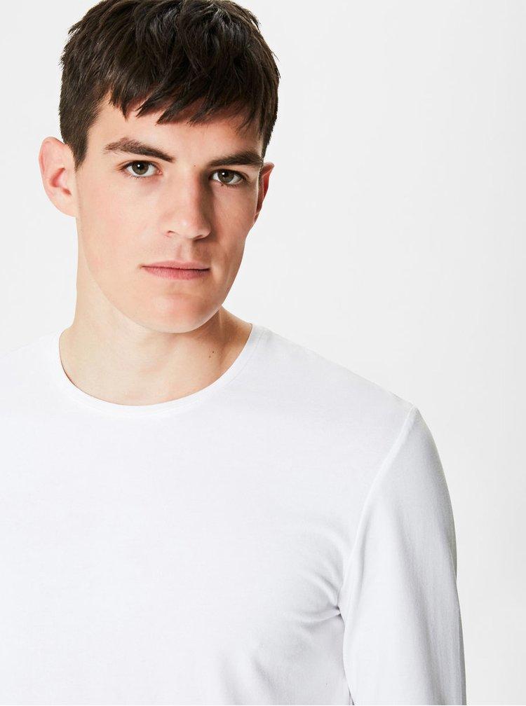 Bílé basic tričko s dlouhým rukávem Selected Homme Basic