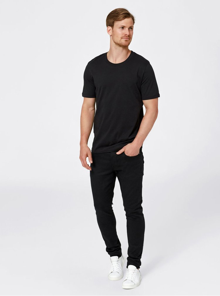 Tricou negru din bumbac Selected Homme The Perfect