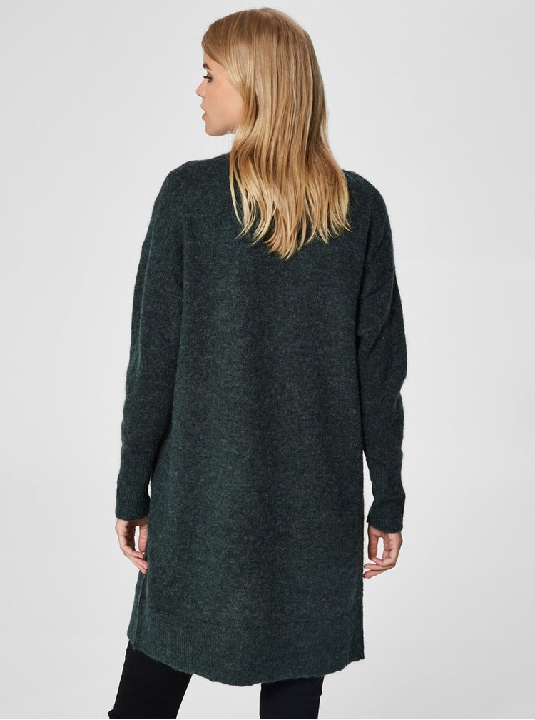 Tmavě zelený basic kardigan s příměsí vlny Selected Femme Livana
