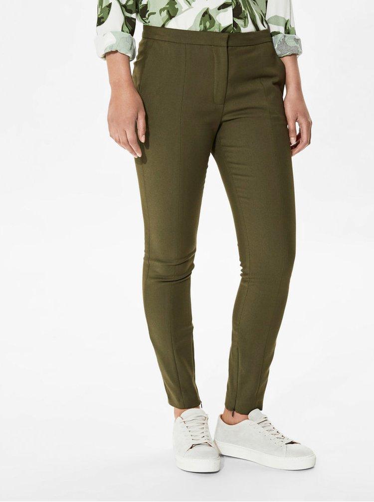 Pantaloni kaki elastici cu fermoare ascunse  Selected Femme Muse