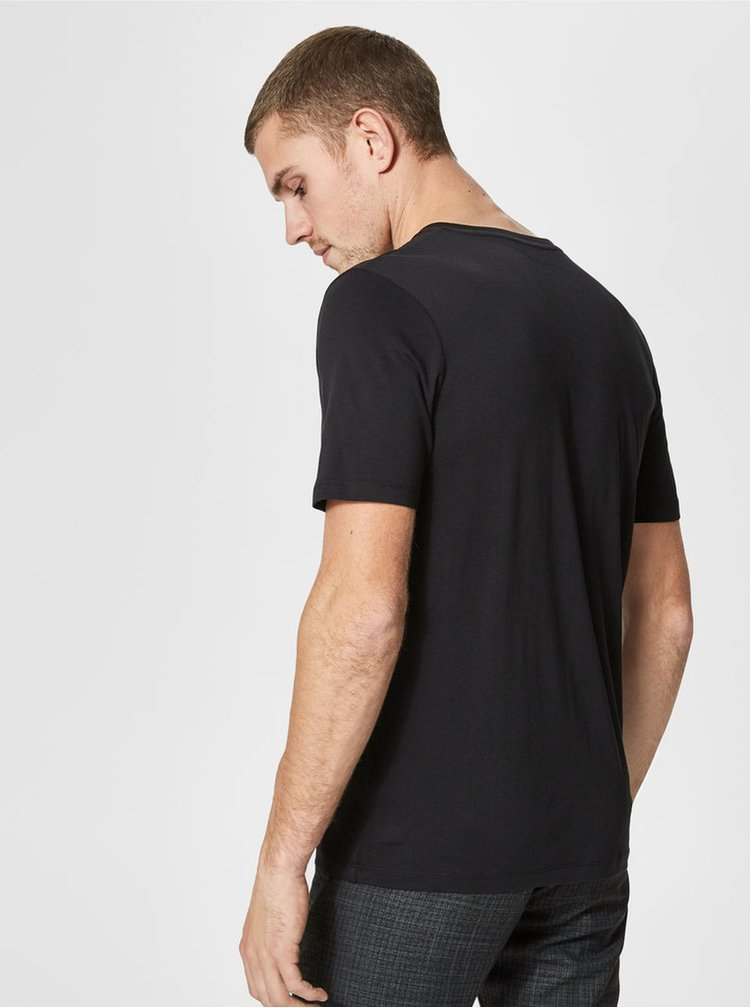 Tricou basic negru din bumbac pima Selected Homme
