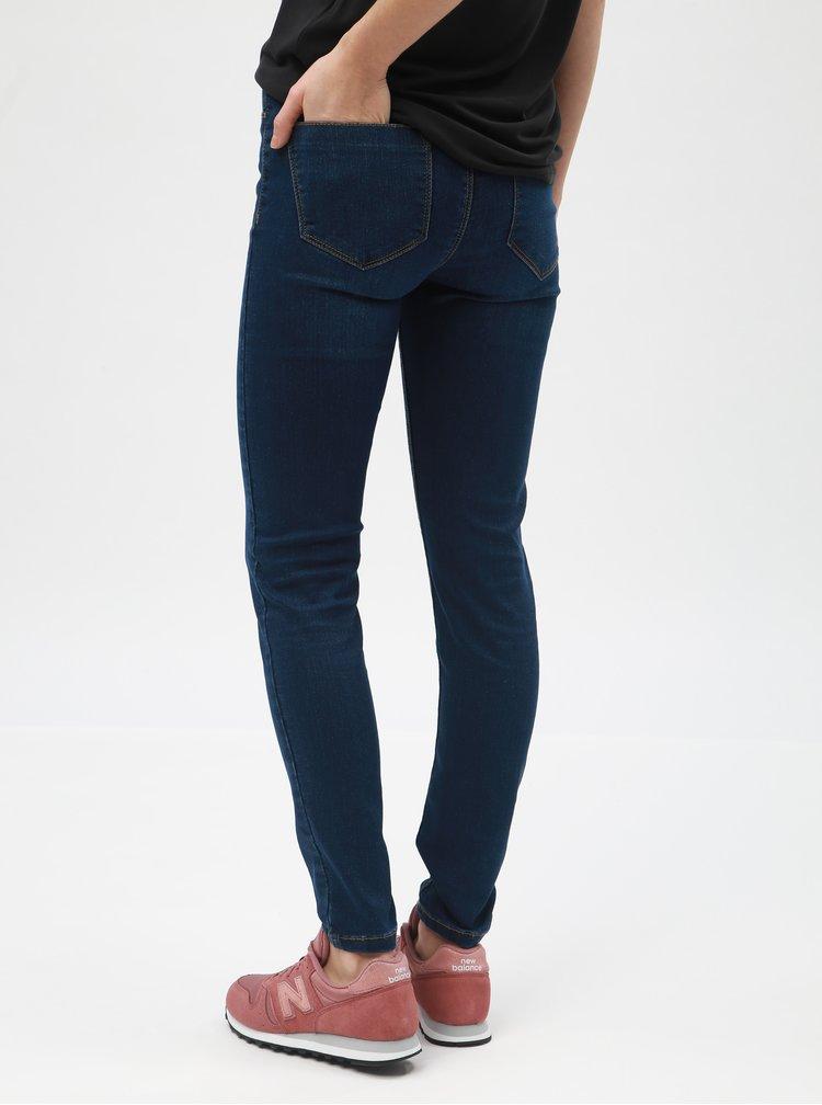Tmavě modré super skinny džíny s vyšisovaným efektem Dorothy Perkins Petite Frankie