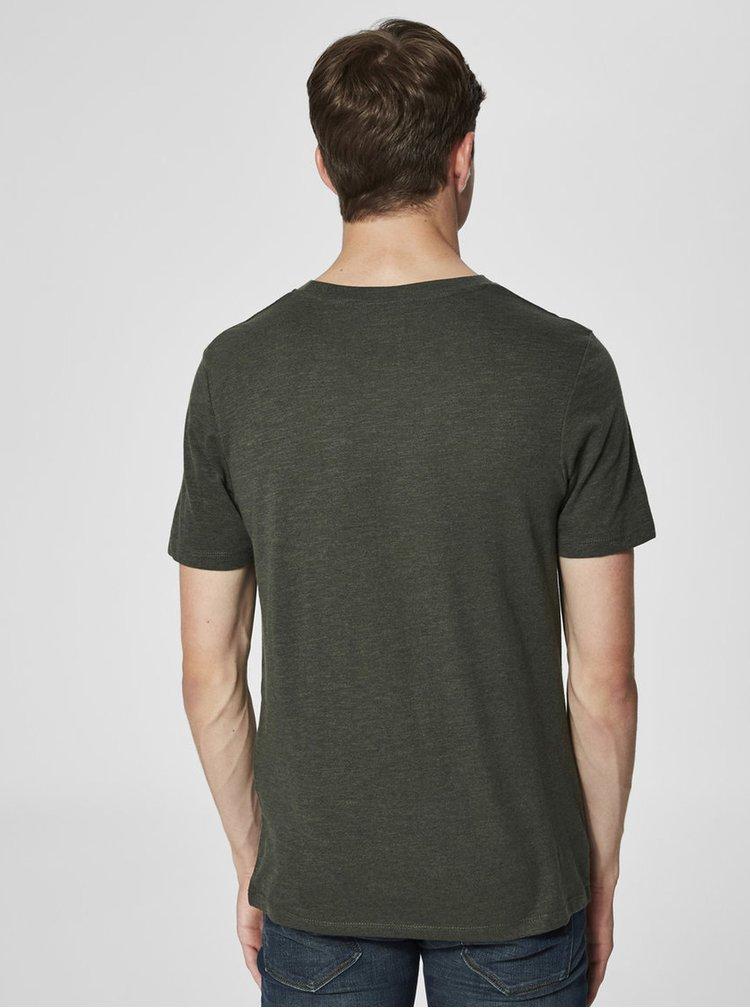 Khaki žíhané basic tričko Selected Homme The Perfect