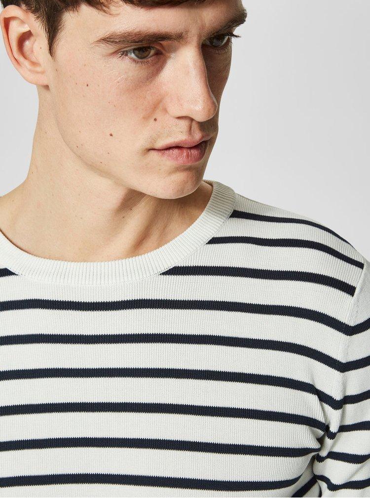 Krémový pruhovaný svetr Selected Homme Sailor