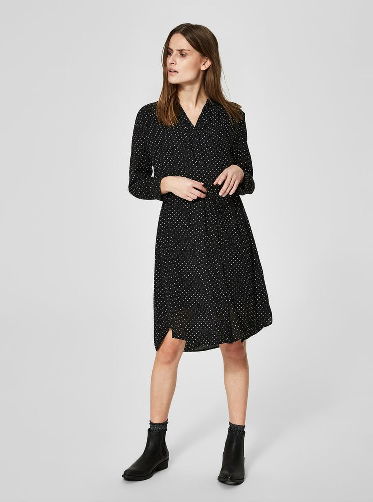 Černé  puntíkované šaty Selected Femme Damina