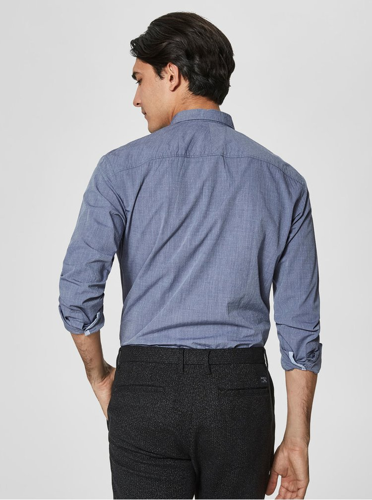 Camasa slim fit albastra cu model marunt Selected Homme