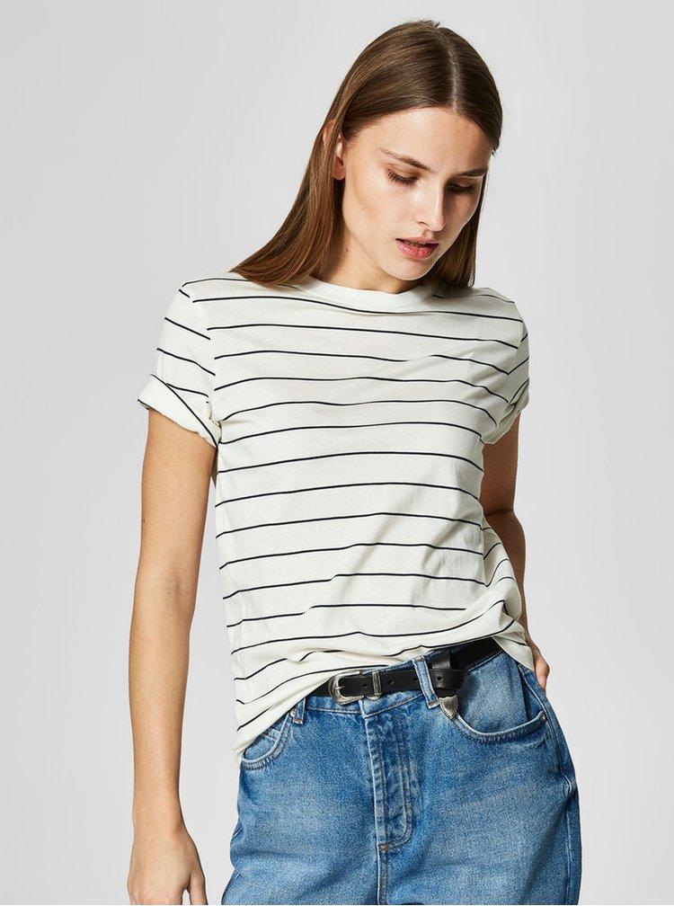 Krémové pruhované basic tričko Selected Femme MyPerfect
