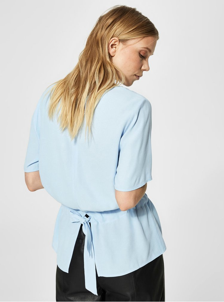 Bluza lejera bleu cu snur in talie Selected Femme Tanna