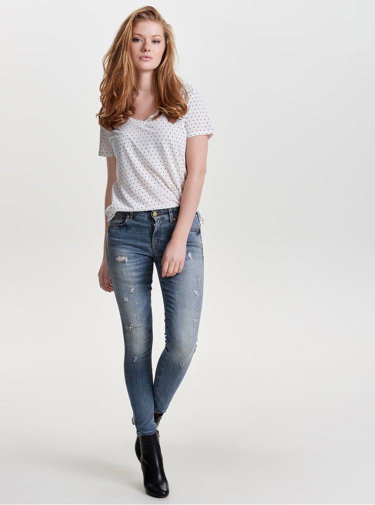 Modré skinny džíny s potrhaným efektem ONLY Alba
