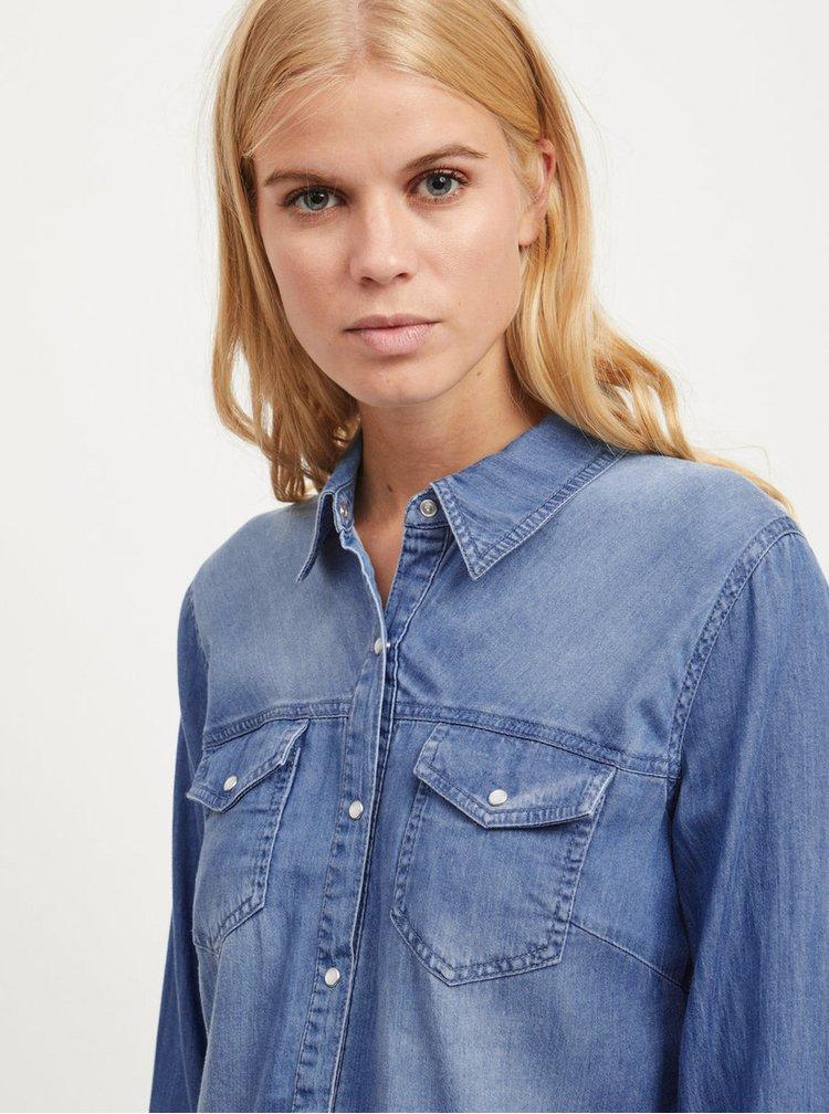 Modrá džínová košile s dlouhým rukávem VILA Bista