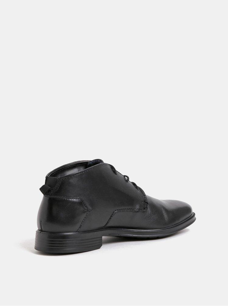 Černé pánské kožené kotníkové boty bugatti Leolo