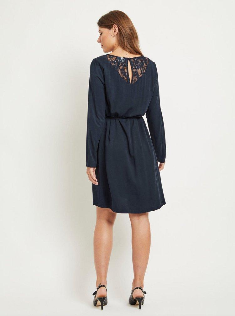 Tmavomodré šaty s čipkou a opaskom VILA Verly